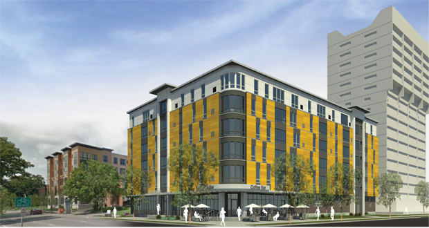The proposed apartment building at 1227 Fourth St. SE in Minneapolis would be six stories, with between 60 and 65 apartments. Part of the ground floor fronting 13th Avenue and Fourth Street Southeast would likely be dedicated to retail. (Submitted rendering: UrbanWorks Architecture)