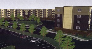 Minnetonka-based Oppidan has proposed 191 market-rate apartment units in Blaine, immediately north of a Teamsters Credit Union at 9422 Ulysses St. NE. The Blaine City Council approved the project last week. (Submitted rendering)