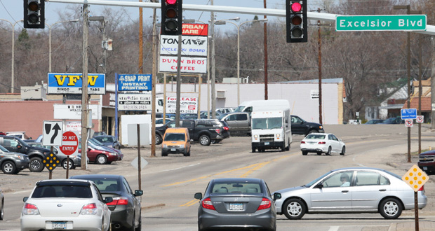 Hennepin County is planning a $12.8 million reconstruction of Shady Oak Road in Minnetonka and Hopkins, including improvements at the location where Highway 7 intersects with the road. (Staff photo: Bill Klotz)