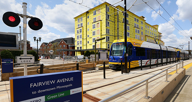 The $45 million addition to Episcopal Homes of Minnesota's University Avenue campus across from the Green Line's Fairview Avenue Station is among $2.5 billion in development projects occurring along the region's newest light rail line. Trains are in the testing phase before the line's June 14 opening date. (Staff Photo: Bill Klotz)