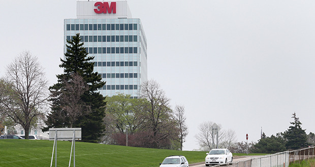 A potential bus rapid transit or light rail line between downtown St. Paul and Woodbury would stop at the 3M Co. headquarters at McKnight Road off Interstate 94 in Maplewood. The transit project may clear federal review hurdles faster as part of President Barack Obama's goals for efficiency in federal oversight of infrastructure projects. (Staff photo: Bill Klotz)