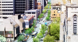 "The $50 million ""Nicollet Mile"" project – headed by the city of Minneapolis and the Minneapolis Downtown Council – is meant to turn the tired 12-block bus and pedestrian corridor into a trendy urban destination. (Submitted rendering: James Corner Field Operations)"