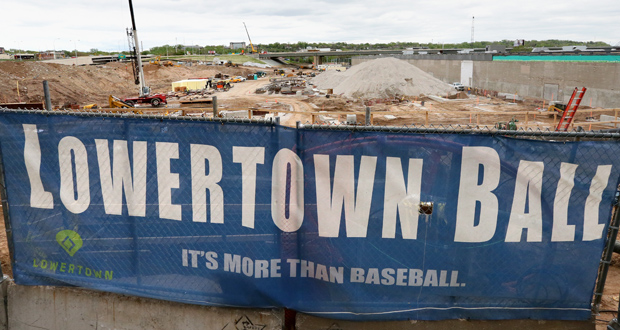 Construction is underway this week at the new ballpark for the St. Paul Saints team in the Lowertown area of St. Paul. This photo shows the view from Broadway Street. (Staff photo: Bill Klotz)