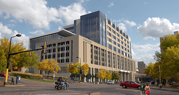 Architects designing the 11-story, 280,000-square-foot headquarters for Maurices in downtown Duluth will submit designs for the $70 million downtown campus to the Minnesota Energy Efficiency Optimizer program, according to The Weidt Group. (File rendering)