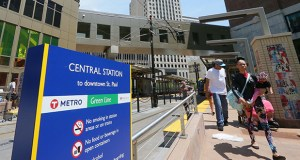 The Central Station at Cedar and Fifth streets in downtown St. Paul is one of four Green Line stations with the highest share of boardings during the first five business days of operations on the new light rail transit line. (Staff photo: Bill Klotz)