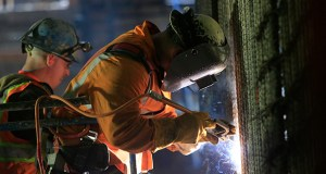 Welders connect iron support bars during construction of a subway tunnel in New York. Government construction spending rose 0.8 percent in April to a rate of $267 billion, according to the U.S. Commerce Department. (AP file photo)