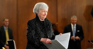 Federal Reserve Chair Janet Yellen arrives for a news conference Wednesday at the Federal Reserve in Washington. (AP photo)