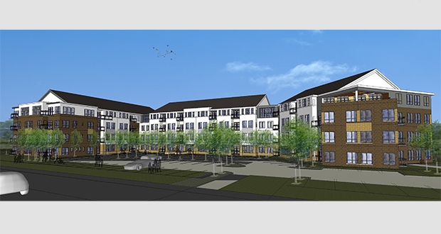At Home Apartments' proposed project at 5709 Rowland Road in Minnetonka would stand four stories and include 114 apartments. (Submitted rendering: Collage Architects)