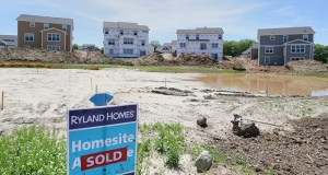 The Heights of Woodbury, shown in this May 29 photo, is a Ryland Homes development under construction in eastern Woodbury. Nationally, builders started work at a seasonally adjusted annual rate on 1.01 million homes last month, illustrating the housing sector's shaky recovery. (File photo: Bill Klotz)