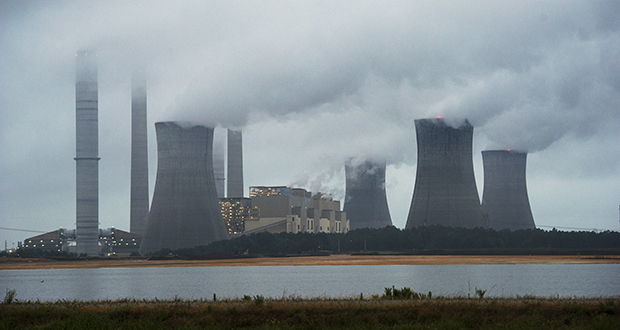 The coal-fired Plant Scherer is shown in operation early Sunday in Juliette, Ga. (AP photo)