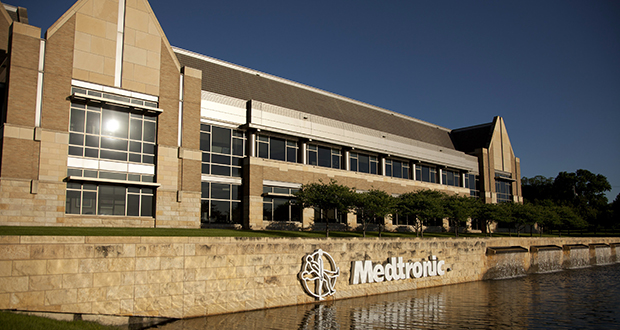 The Medtronic Inc. headquarters building stands in Fridley on Monday. While the company will be based in Ireland for tax purposes, Gov. Mark Dayton says Medtronic will keep its operational headquarters in Minnesota. (Bloomberg News: Ariana Lindquist)