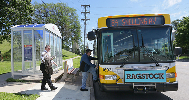 Though planners considered an A Line station in front of Parkway Family Physicians at the intersection of Highland Parkway and Snelling Avenue, the recommended plan includes a station at the north side of the intersection where the stop exists today. (Staff photo: Bill Klotz)