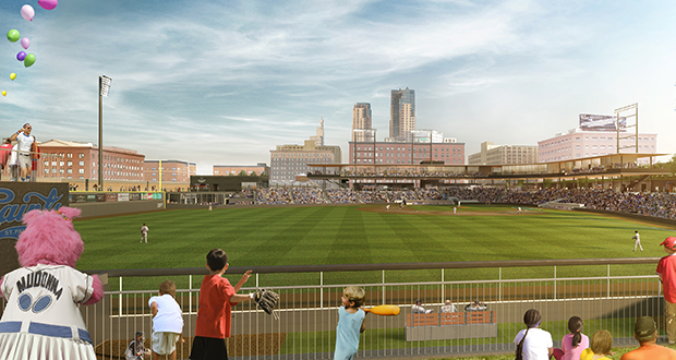 The new Saints ballpark is expected to open in spring 2015 at Fifth and Broadway streets in the Lowertown area of downtown St. Paul. (Submitted rendering)