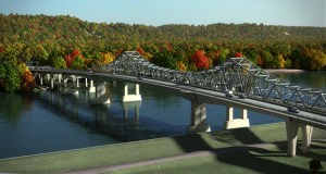 Work begins this week on the $162 million Winona Bridge project, which includes construction of a new bridge, as seen in this submitted rendering, and rehab of the existing 72-year-old bridge over the Mississippi River. (Submitted rendering: MnDOT)