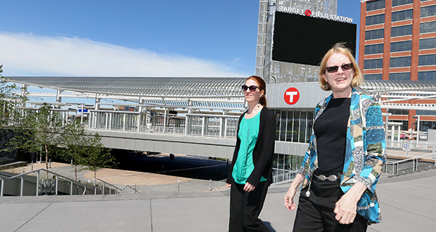 Lucy Ferguson Galbraith, right, is the new director of Metro Transit's transit oriented development office. She's walking with Allison Bell, the office's program manager, near Target Field Station in downtown Minneapolis. (Staff photo: Bill Klotz)