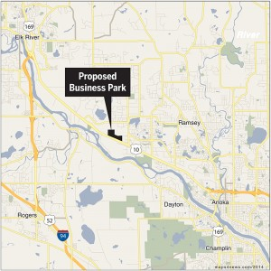 The city of Ramsey wants to create a 93-acre business park on the north side of Highway 10, about three-quarters of a mile from a new interchange at Highway 10, Armstrong Boulevard and County Road 83. (Click for larger map)