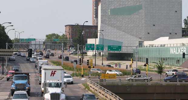 "Traffic on Hennepin Avenue and Lyndale Avenue, sometimes called the ""Bottleneck,"" passes in front of the Walker Art Center on Friday. Parts of the two streets between Dunwoody Boulevard and Franklin Avenue are set to be reconstructed. (Staff photo: Bill Klotz)"