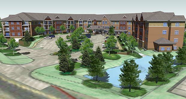 This rendering shows the design for Gable Pines Senior Living, a 123-unit market rate housing development a Rochester company plans to build at 1260 E. County Road E in Vadnais Heights. (Submitted photo: D6 Development)