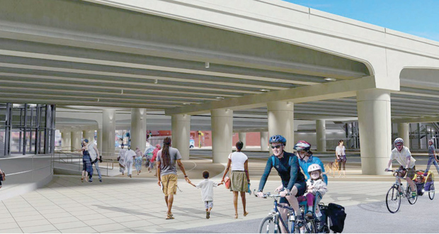 "A two-level transit station on Interstate 35W at Lake Street is set to be the ""signature station"" of the Orange Line from downtown Minneapolis to Burnsville, according to Metro Transit's Charles Carlson. (Submitted rendering)"