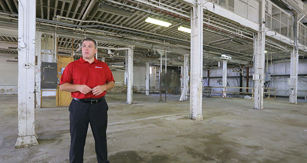A renovation of the 98-year-old Pillsbury Machine Shop building at 300 Second St. SE, including this space on the main level, will begin this month, according to Schafer Richardson leasing associate Mike Olson. (Staff Photo: Bill Klotz)
