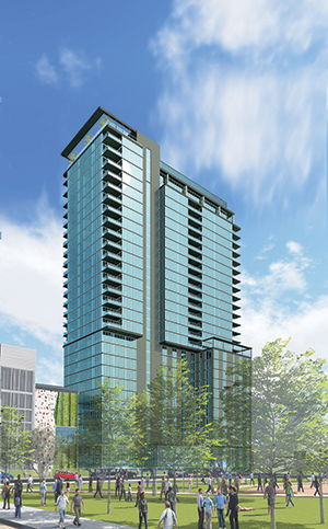 Ryan Cos. US Inc. previously proposed an apartment and hotel tower at 728 S. Fourth St. in Minneapolis that would stand 27 stories tall. Now the developer plans up to a 35-story tower with 360 units above a parking ramp that will serve the Vikings stadium. (Submitted rendering)