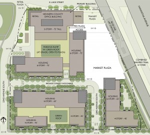 A site plan for 2225 E. Lake St. in Minneapolis shows a new Hennepin County hub, structured parking, a plaza for the Midtown Farmer's Market and several residential developments. Click for larger image. (Submitted rendering: BKV Group)