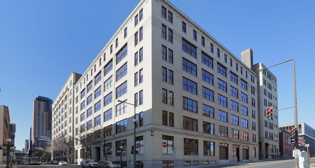 Sherman Associates converted a century-old building used as a parking ramp into 88 market-rate apartments at 261 E. Fifth St. in St. Paul's Lowertown neighborhood. (Staff photo: Bill Klotz)