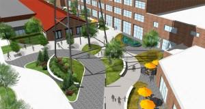 A rendering shows a public plaza and courtyard incorporated into First & First's Vandalia Tower redevelopment on 5.5 acres at 550 Vandalia Street in St. Paul. The project is recommended for a $650,000 transit oriented development grant from the Metropolitan Council. (Submitted rendering: First & First)