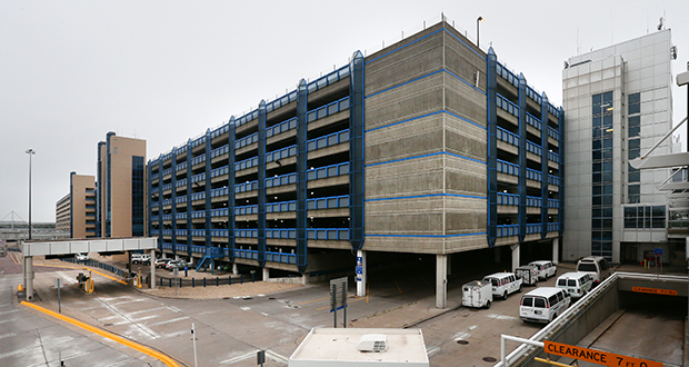 The Metropolitan Airports Commission is putting 300,000 square feet of solar arrays on two parking structures at the Minneapolis-St. Paul International Airport, including this Terminal 1 ramp. (Staff photo: Bill Klotz)