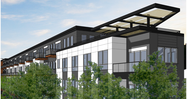 St. Paul-based Wellington Management is planning a 135-unit, four-story apartment building near the Lake Street Blue Line station on Hiawatha Avenue between 31st and 32nd streets. (Submitted rendering: Collage Architects)