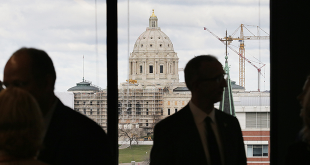 TKDA's 15th floor space within UBS Plaza, 444 Cedar St.., St. Paul, provides nice views of downtown buildings, including the Minnesota State Capitol. The company recently finished a $1.5 million expansion and remodel of its space in the building. (Staff photo: Bill Klotz)