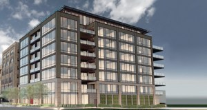Developers Curt Gunsbury and Robb Miller have proposed an eight-story, 30-unit condominium building at 602 First St. N. in Minneapolis. (Submitted rendering: Tushie Montgomery Architects)