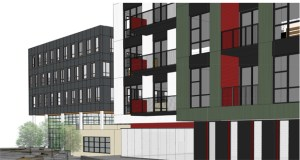 Retail in a 100,000-square-foot office building for Hennepin County, a bike shop and apartments would front 22nd Avenue in a proposed mixed-used project by L&H Station Development at 2225 E. Lake St. in Minneapolis. (Submitted rendering: BKV Group)