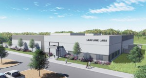 Minneapolis-based LeafLine Labs has closed on the purchase of a 24-acre site and started construction on this 42,000-square-foot manufacturing facility in the southwest quadrant of Jamaica Avenue and 97th Street South in Cottage Grove. (Submitted rendering)