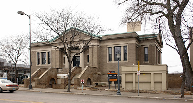 The original Walker Library building, at 2901 Hennepin Ave. S. in Minneapolis, was constructed in 1911. The building was most recently used as a LifeTime Fitness yoga studio. (Submitted photo: CoStar Group)