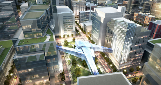This is an artist's rendering of Discovery Square, a science and technology hub of the Destination Medical Center that would surround a public square in Rochester. (Submitted rendering: Destination Medical Center Corp.)