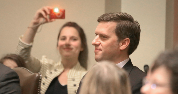 House Speaker Kurt Daudt was the center of attention Tuesday during the first day of the legislative session at the Capitol in St. Paul. Daudt says he looks forward to working with the Senate to refine ideas and find commonalities. (Staff photo: Bill Klotz)