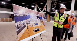 Ted Johnson, chief marketing officer for the Minnesota Timberwolves, led a tour of the team's new $25 million training center under construction in the former Block E building, 600 Hennepin Ave. in Minneapolis. The center is scheduled for completion in May. (Staff photo: Bill Klotz)