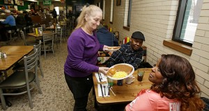 Linda Reese delivers a meatloaf dinner to a customer Jan. 23 at the Superior Restaurant in Cleveland. The Labor Department reported Thursday that the consumer pirce index fell 0.7 percent in January. Lower gas prices drove nearly all the decline. (AP Photo: Tony Dejak)
