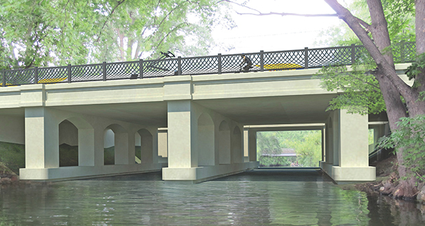 The Minneapolis Park and Recreation Board objected to a bridge to carry Southwest Light Rail Transit vehicles over the Kenilworth Channel. The rendering shows one of the bridge designs proposed by the Metropolitan Council. (Submitted rendering)