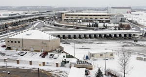 The proposed two-acre site for a full-service hotel at the Minneapolis-St. Paul International Airport is near the airport's post office facility (background). This photo was taken from the top of the Red parking ramp at Terminal 1. (File photo: Bill Klotz)