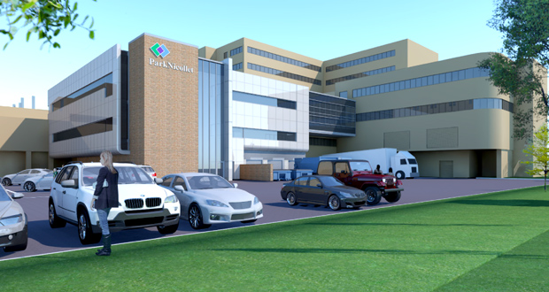 Park Nicollet has proposed an expansion and remodel of its surgery center at Methodist Hospital in St. Louis Park. The project would add about 8,000 square feet at street level and the first level of the building and about 14,500 square feet on the building's second level. (Submitted rendering: BWBR Architects)
