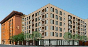 Sherman Associates has proposed The Chicago, a 181-unit apartment building, on the northwest corner of Third Street South and Chicago Avenue in Minneapolis. The developer will also repurpose the Thresher Square building (left) into office space and a hotel. (Submitted rendering: ESG Architects)