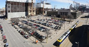 The Downtown East Commons will rise on the site of the former Star Tribune building (at right) at 425 Portland Ave. S. in Minneapolis. The two Wells Fargo office towers (at left) and the Vikings stadium (far right) are under construction. (Staff photo: Bill Klotz)