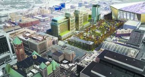 The city of Minneapolis has put out a request for an owner's representative for the Downtown East Commons park, as seen in this preliminary rendering from Ryan Cos. US Inc. (Submitted rendering)