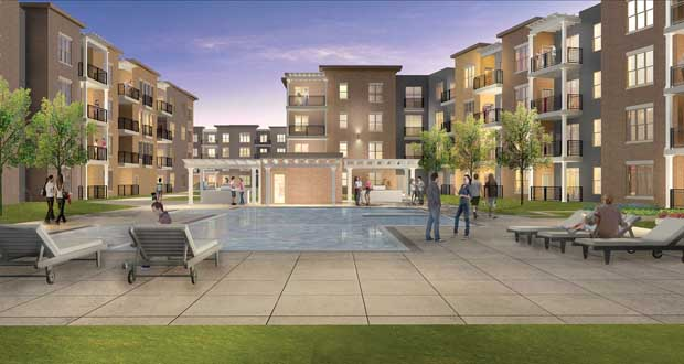 Doran Cos. is proposing a 484-unit apartment complex on the southeast quadrant of Oak Grove Parkway and Hampshire Avenue North in Brooklyn Park, just north of Highway 610 and kitty-corner from Target Corp.'s campus in the city. (Submitted rendering)