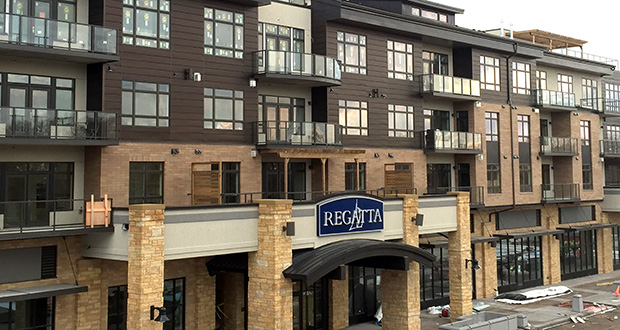 This recent photo shows some of the work being done to prepare the Regatta Wayzata Bay Residences for the first condominium owners to move in. The building sits at the corner of Lake Street and Superior Boulevard in Wayzata. (Submitted photo: BohLand Development)