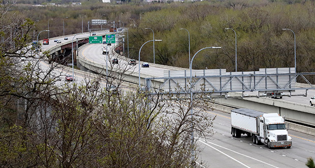 The Bloomington Ferry Bridge, which carries Trunk Highway 169 over the Minnesota River near Shakopee, could be improved if Scott County enacts its own sales tax for transportation and transit. Addressing capacity issues on the bridge is one of 13 projects that would be eligible for funding. (Staff photo: Bill Klotz)