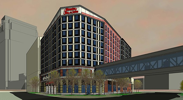 Summit Hotel Properties closed on the 211-room Hampton Inn and Suites at 19 Eighth St. N. in downtown Minneapolis. (Submitted rendering: ESG Architects)