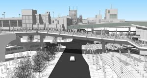 A rendering shows a bridge connection over Chicago Avenue that would link the new Vikings stadium and the Downtown East light rail transit platform in Minneapolis. (Source: Metro Transit)